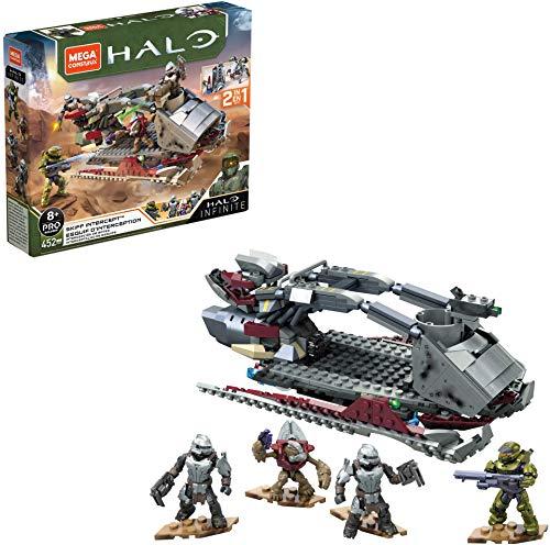 Mega Construx Halo Infinite, Esquif d'Interception 2-en-1, véhicule à construire, 452 pièces, jeu de briques de construction, 8 ans et plus, GNB21