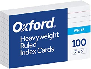 Oxford 3x5 Heavy Weight Ruled Index Card, White, 100 Count (63500), 2 Set of 100 total Of 200 Cards