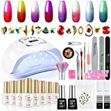 Color Changing Gel Nail Polish Kit with 110W U V Light 8 Colors Temperature Color Changing Gel Polish Set with Gel Base Top Coat Nail Art Decoration Glue for Manicure Nail DIY Home Salon Gift