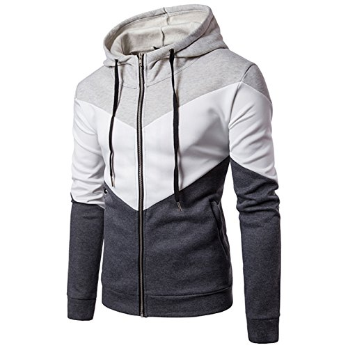 Herren Langarm-Stitching Color Zip Fleece und Baumwolle mit Kapuze Fashion Hoodies(XS, hellgrau)