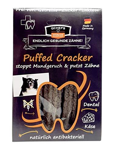 QCHEFS Puffed Cracker 3er |Hunde Zahnpflege-Snack|Kauknochen groß| Knochen gegen Mundgeruch & Zahnfleischentzündung| Zahnsteinentferner|Hundeleckerlie| Kauartikel|Hüttenkäse- natürlich antibakteriell
