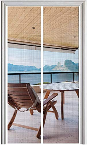 YUFER Magnet Screen Door 36 x 80, Magnetic Mesh Screen Door with Heavy Duty,Mesh Curtain Double Door Screen,Fits Door Size up to 36'x80' Max-White