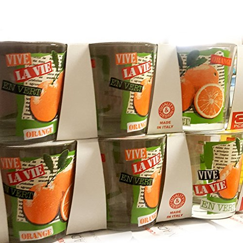 Cerve Nadia Lot de 3 verres à eau boisson cocktail 25 cl Made in Italy Ligne NADIA orange