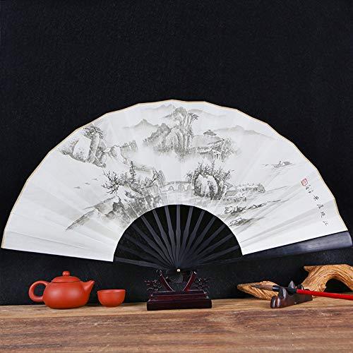 XIAOHAIZI vouwventilator klassieke mannelijke ventilator vouwventilator Chinese stijl mannen ventilator oude stijl met de hand beschilderd kleine brug water papier ventilator cadeau ventilator Boutique ventilator