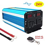 Cantonape Pure Sine Wave Power Inverter 3000W/6000W Peak Converter DC 24V to 230V 240V AC with LED Display dual Universal sockets & wireless remote controller for RV Truck Car Boat