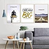 Zhenhe paisaje nórdico carta torre de pintura decorativa 3pcs / set de la pared del marco del oro de la pintura mural simples micro hogar moderno hotel sofá salón HD aerosol vida feliz decoración de p