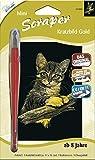 MAMMUT 131003 - Kratzbild, Motiv Katze, gold, glänzend, mini, Komplettset mit Kratzmesser und Übungsblatt, Scraper, Scratch, Kritzel, Kratzset für Kinder ab 8 Jahre