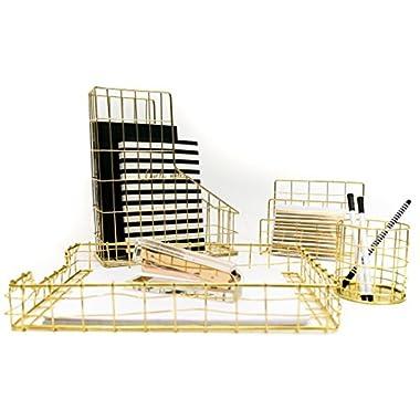 Blu Monaco Office Supplies Gold Desk Accessories for Women - 4 Piece Wire Gold Desk Organizer Set – Letter Sorter, Paper Tray, Pen Cup, Magazine File - Stationery Decor