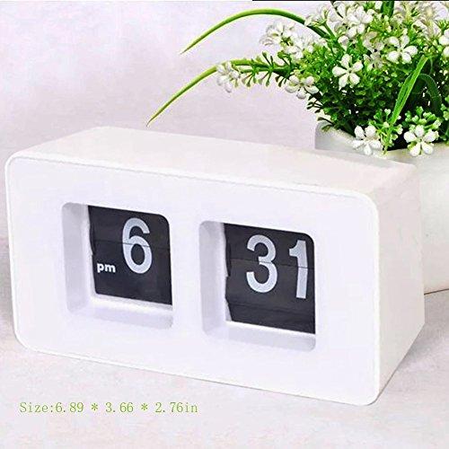 finlon Auto Flip Uhr Datei Down Seite Uhren Schreibtisch Wanduhr Smart Light Alarm Uhr Dimmer am/PM Format Display für Home Office Dekoration