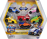 6 AUTHENTIC PAW PATROL TOY CARS: With realistic movie details, graphics, working wheels and metal material, the 1:55 scale True Metal vehicles look just like PAW Patrol's sleek city vehicles from the movie REAL WORKING WHEELS: With working wheels, th...