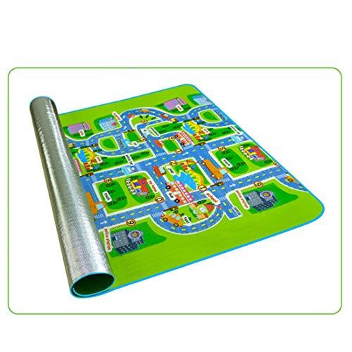 Dittzz Spielmatte Stadt Straße, Baby Einseitig Spielteppich Straße Krabbeldecke für Kinder, 200 x 180 x 0.5cm(Stadtverkehr)