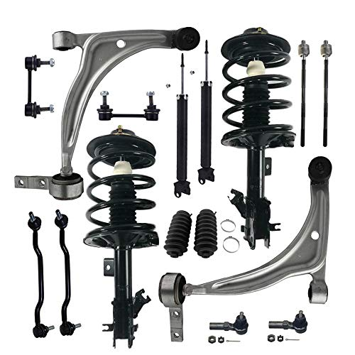 Detroit Axle - 16PC Front Struts and Coil Springs, Rear Shock Absorbers, Front Lower Control Arms w/Ball Joints, Sway Bars, Inner and Outer Tie Rods for 2002-2006 Nissan Altima 2.5L Only