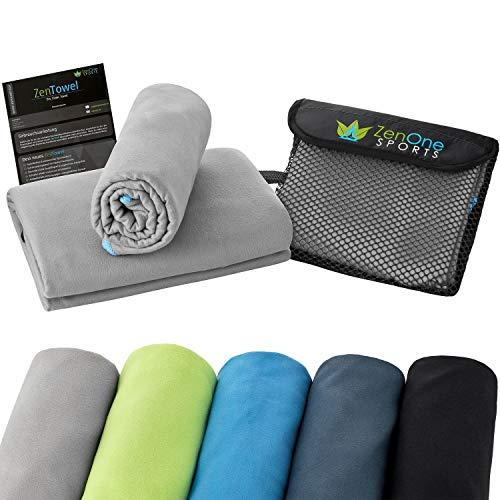 ZenTowel Mikrofaser Handtuch Schnelltrocknend I Premium Fitness & Sauna Handtücher I Ideal als Sporthandtuch, Reisehandtuch & Strandhandtuch (80 x 150 cm, Grau)