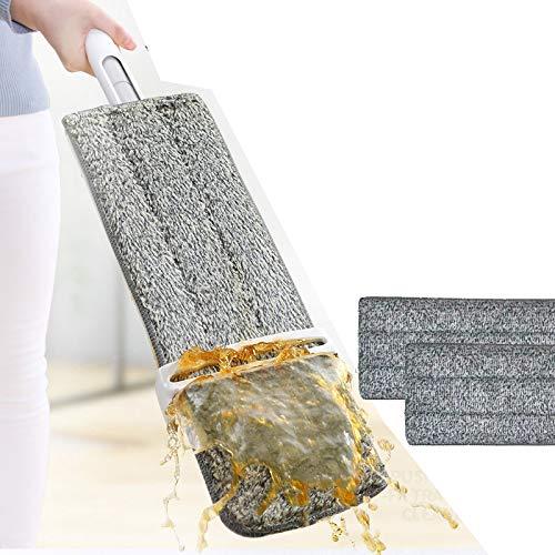 フローリング モップ 業務用 長い 水切り 替糸 フロアモップ タイル床 タイルフロア 自立式モップ 拭き 乾拭き フラットモップ マイクロファイバー 簡単 ステンレス製 モップパッド3枚付き まほうモップ 電動 バケツ 回転 必要な