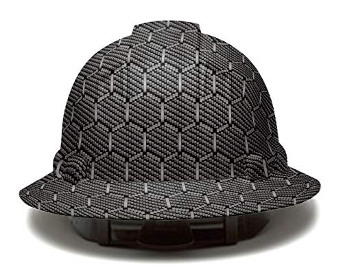Full Brim Pyramex Hard Hat, Hexagon Carbon fiber Design Safety Helmet 6pt, By Acerpal