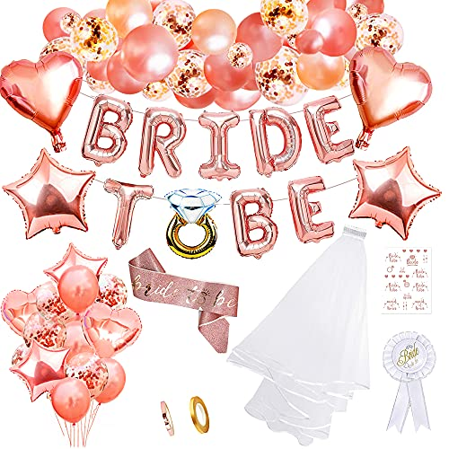 Hen party decoración,Bride to Be Globos Decoración velo de novia con peineta,Globo de despedida de soltera Confetti Oro rosa globos Velo de novia
