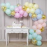 PartyWoo Luftballons Pastell, 70 Stück 12 Zoll Pastel Ballons in Pastellfarben und Konfetti Luftballons, Luftballons Pastellfarben, Luftballons Pastellfarben Mix für Einhorn Party, Eiscreme Party
