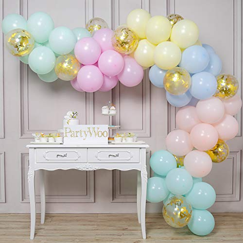 PartyWoo Pastel Globos 80 Piezas Globos de Látex en Colores Pastel Surtidos y Globos de Confeti Decoraciones de Fiesta Colores Pastel para Cumpleaños de Niñas, Baby Shower, Boda