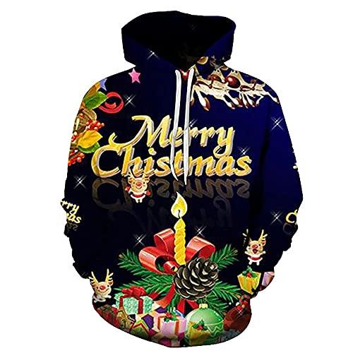 WBYFDC Unisex Weihnachten 3D Männer Frauen Kapuzen-Sweatshirt Weihnachtsmann Herren Hoodie Druck Herbst Winter Pullover Kleidung