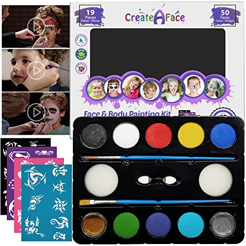 Face Paint Kit for Kids - 32 Jumbo Stencils, 8 Water Based Painting Colors, 2 Brushes, 2 Glitters, 2 Sponges & 2 Applicators Included - 100% Safe, Easy on...