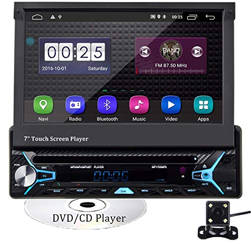 CAMECHO Android 10.0 Single Din Car Stereo Bluetooth Car DVD CD Player 7 inch Retractable & Flip out touchscreen Radio Build-in GPS WiFi Support Android iOS Mirror Link with FM AM USB SD Backup Camera