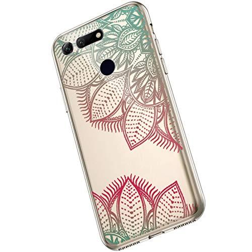 Saceebe Compatible avec Huawei Honor View 20 Coque Clair Souple TPU Gel Silicone Mandala Fleur Motif Dessin Antichoc Housse de Protection Souple Mince Léger Case Anti-Rayures,Vert Rose