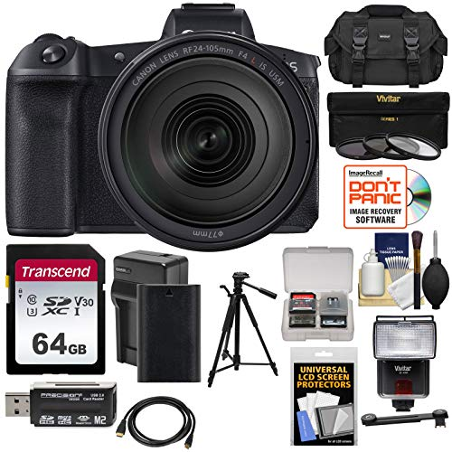 Canon EOS R Full Frame Mirrorless Digital Camera & 24-105mm f/4 L is Lens with 64GB Card + Battery & Charger + 3 Filters + Case + Tripod + Flash Kit