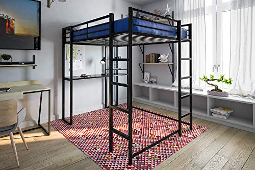 DHP Abode Loft Bed, Full, Black 1 Metal Frame With Desk And...