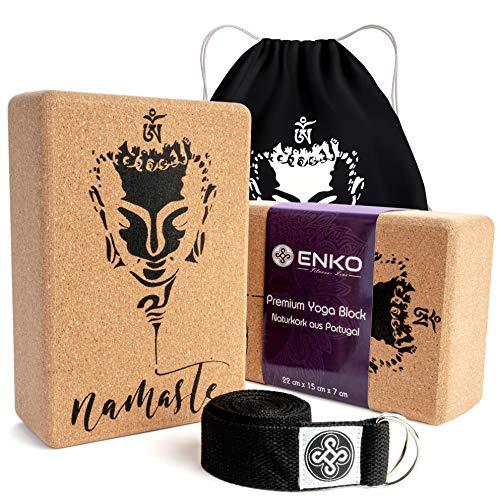 ENKO Premium Yoga Block 4er-Set - 2X Yogablock aus Kork 1x Yoga Gurt inklusive Baumwolltasche - Hochwertiges Yogablock und Gurt Set