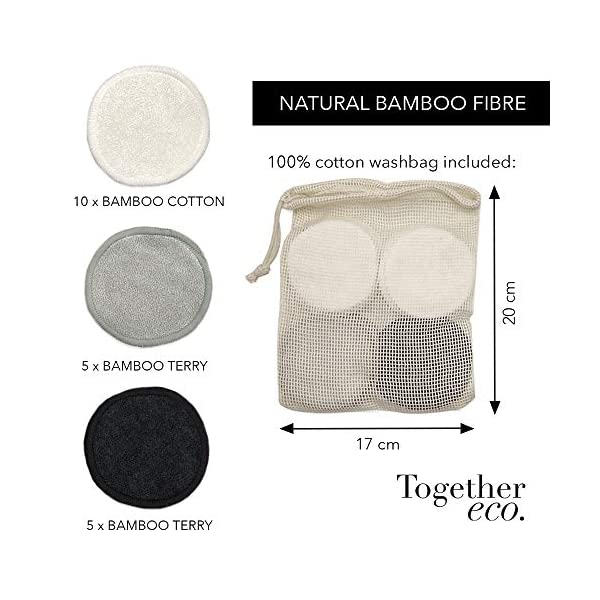 Reusable Makeup Remover Pads | 20 Eco Friendly & Sustainable Bamboo Cotton Pads in White, Black & Grey with Laundry Wash…
