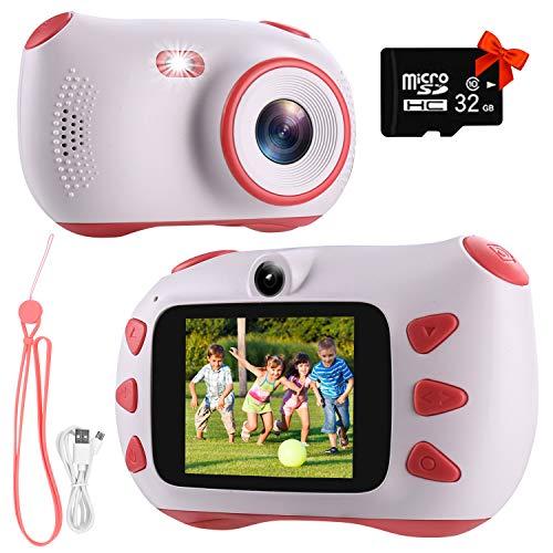 Rumia - Cámara de vídeo digital para niños con pantalla IPS de 2,0 pulgadas, 20 megapíxeles, 1080P HD, tarjeta TF de 32 G y grabador de vídeo recargable por USB, color rosa