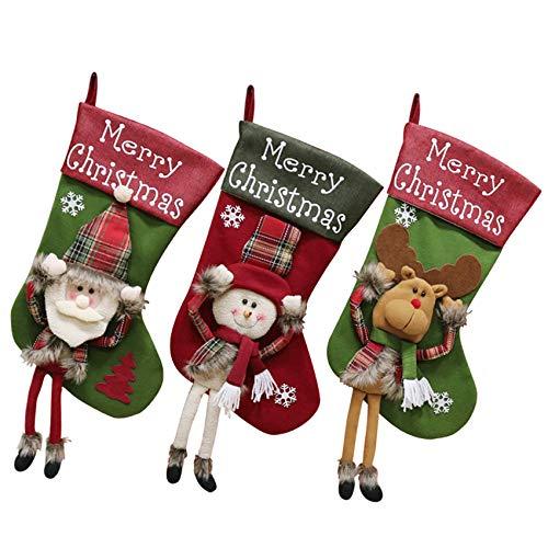 Medias de Navidad Paquete de 3 Medias Colgantes de 47 cm para Decoración Navidad Adornos Navideña Bolsa de Dulces (3 Pack)