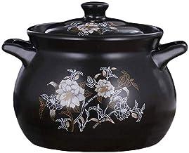 WZWHJ Black Enameled Ceramic Soup Pots Stewpot Stewing Casserole Ceramic Cooking Pot Cookware Ceramique