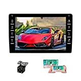 """UNITOPSCI Android Car Stereo Double Din Car Radio with GPS Bluetooth 8"""" HD Touch Screen Car Multimedia Player FM Radio Support WiFi Mirror Link for Android/iOS SWC Dual USB + Backup Camera"""