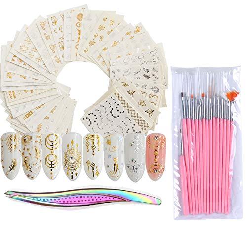 Dancepandas Adesivo Unghie Ad Acqua 136PCS Adesivi Unghie Nail Art Water Decals Nails 3D Nail Stickers Unghie per Donne Ragazze Bbambini Manicure Fai da Te o Salone di Bellezza - Modello Casuale