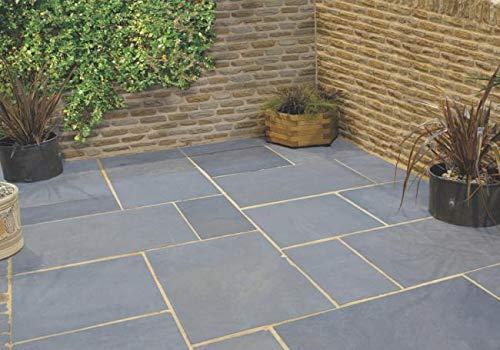 Natural indio Kota azul piedra caliza corte a mano al aire libre patio paquete mezcla tamaño pavimentación losas banderas 15.25 m2 jardín piedra decorativa