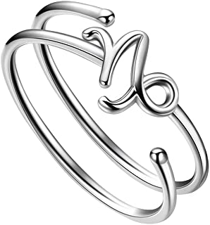 Besilver Adjustable Zodiac Ring 925 Sterling Silver 12 Constellation Double Band Finger Ring Women Girl Horoscop Astrology Birthday Jewelry