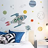 Cartoon Cute Dinosaurs on Rocket Wall Stickers Planets Outer Space Stars DIY Vinyl Removable Large Wall Decals Art Decorations Decor for Kids Boys Bedroom Living Room Playing Room Murals