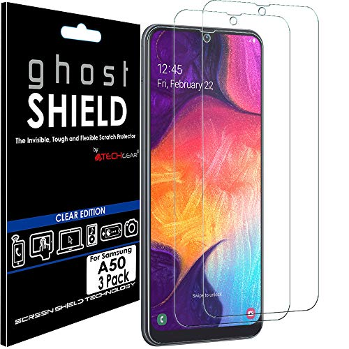 TECHGEAR [Pack van 3] Screen Protectors fit Samsung Galaxy A50 [ghostSHIELD Edition] Versterkte TPU film Screen Protector Guard Covers [FULL Screen Coverage] Gebogen scherm gebied