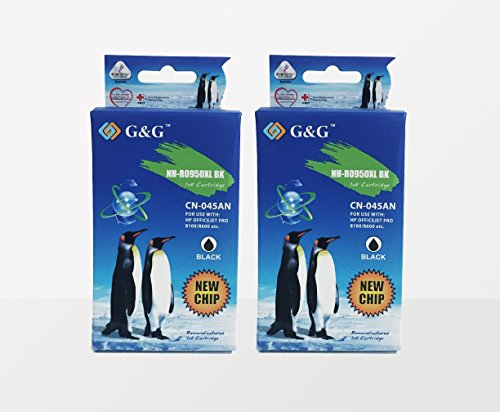 G&G Products Remanufactured Ink Cartridge Replacement for HP 950XL 950 XL CN045AN (Black) 2-Pack