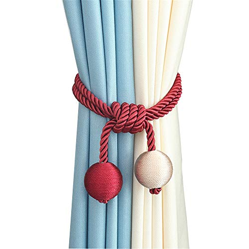 Monkibag-HE Curtain Tie 2 PCS of Modern Curtain Tiebacks Simple Curtain Holder with 2 Weaving Bead Curtain Rope Clips Drape Rope Tieback & Holdbacks for Bedroom, Living Room, Office Curtain Clip Rope