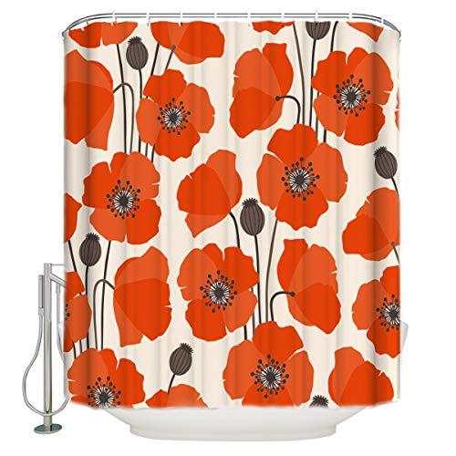 ALAGO Abstract Orange Poppy Shower Curtain