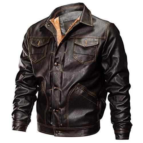 Männer Kurzmantel, Mann Junge Herbst Winter Outwear Lederjacke Biker Motorrad Button Outwear Mantel Top Bluse Taschen Jacken Moonuy