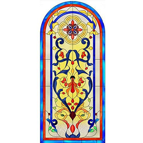 WFYY Vinilo Pegatina para Muebles Vidrio De Iglesia, Patrón Europeo, Vidrieras Tiffany Pegatinas Carteles para Pared Vidrio Papel Pintado 77x200Cm