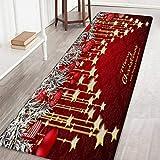 Bornbayb Tappeti e tappeti da Bagno Natalizi, tappeti da Bagno Antiscivolo Stampati a Babbo Natale e Alce 3D Home Decor