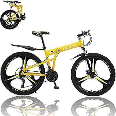 26 inch Adults Mountain Bike, Folding Mountain Bikes for Men & Women High-Carbon Steel Outdoor Adventures Wasteland Exercise Road Bikes with 21 Speed Dual Disc Brakes Full Suspension Non-Slip (Yellow)