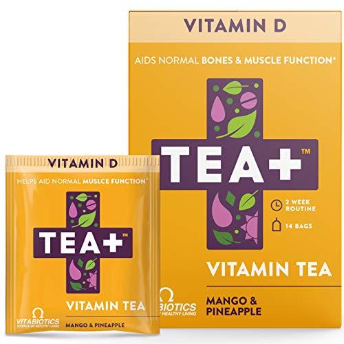 Vitabiotics TEA+ ( Tea Plus ) Vitamin D Tea - Helps Aid Normal Bones and Muscle | Provides Immune Support | Herbal Tea with Mango and Pineapple Natural Flavour | 14 Tea Bags