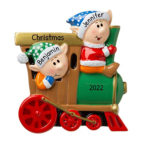Personalized Elves on a Train Christmas Tree Ornament 2019 - Fun Santa Holiday Grand-Son Daughter Love Kid Friend Modern Design Year Child Baby Tradition Winter-Wonderland - Free Customization
