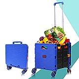 JGHJGG Klappbarer Einkaufswagen mit Abnehmbarer wasserdichter Tasche, großer Einkaufswagen mit Rädern, langlebiger 4-Rad-Einkaufswagen mit Aluminiumrahmen (105 x 40 x 36 cm)-Blue