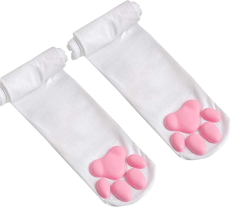 Thigh High Socks, Pink Thigh High Socks Cute Cat Paw Pad Socks for Women Girls, 3d Kitten Claw Stockings Cosplay Socks